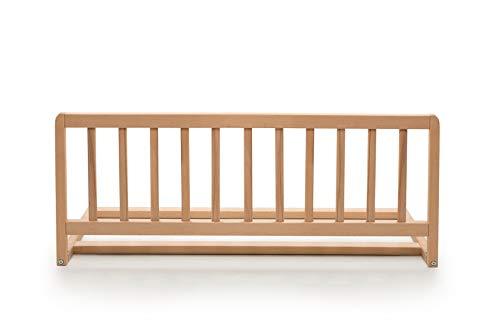 Geuther 2110 NA Bettschutzgitter aus Holz, variable, 90 cm, natur, einfache Handhabung, sicherer Halt, braun, 3.3 kg