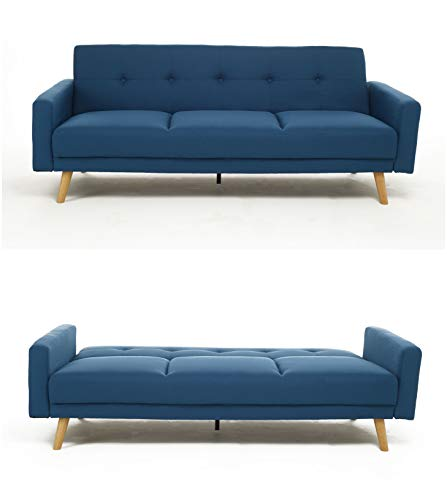 Bravich Modern 3 Seater Sofa Bed Fabric Couch Settee Click Clack Sofa Bed With Memory Foam Padding NARVICK Recliner Bed Sofa For Living Room NAVY BLUE