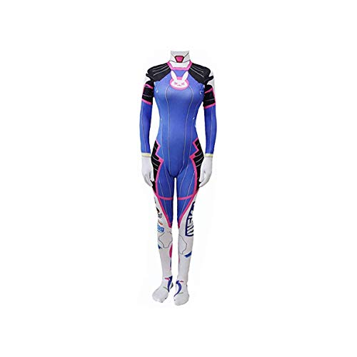 Siskey Dva Cosplay,D.Va Cosplay Kostüm Damen Jumpsuit,Overwatch Dva Blaubeere Karbonfaser Weiß Kaninchen Harley Mercy Mandarine Taegukgi BVa Cosplay Kostüm-2XL