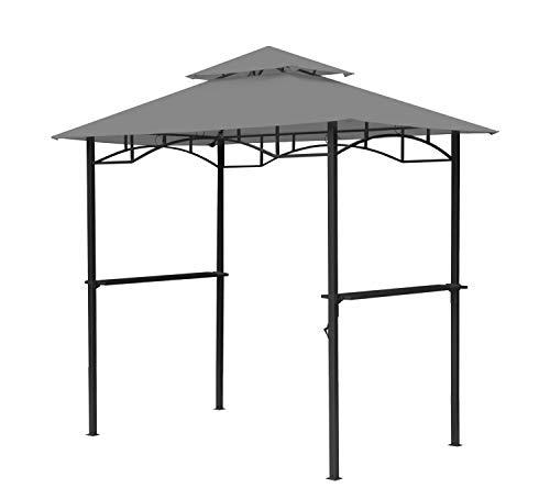 GRASEKAMP Qualität seit 1972 BBQ Grillpavillon 1,5x2,4m mit Flammschutzdach und Abzug Grau Unterstand Gazebo