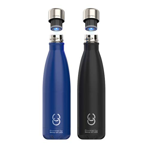 CrazyCap 2.0 Deep UV Purifier & Self-Cleaning Water Bottle, Stainless Steel Vacuum Insulated BPA Free -17 oz / 500 ml - Twin Pack