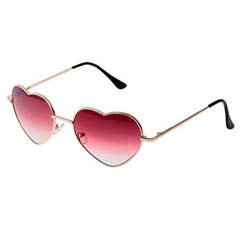 Alla Moda Donna Uomo Forma Cuore Occhiali da Sole Regolabile Naso Pads Regalo Donna - Rojo claro, 15cm