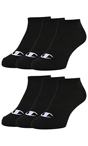 Champion 6pk Sneaker Gemischte Unisex Socken, Schwarz, 35-38