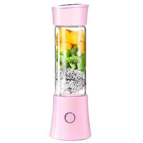 LANGCA Portable Juicer Cup, Small Mini USB Charging Wireless Fruit Blender, Stainless Steel Blade, Multifunctional Fruit Smoothie Milkshake Machine,Pink