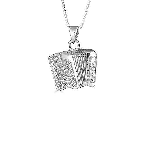 Kleine Schätze Sterling Silber Musik Akkordeon Musik Anhänger Halskette (Verfügbare Kettenlänge 40cm - 45cm - 50cm - 55cm)