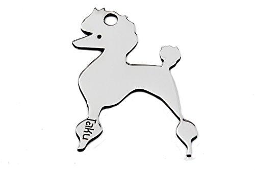 PUDEL Edelstahl Hundemarke - Schlüsselanhänger – Taschenanhänger - Anhänger für Halsband - Tier-Anhänger - Halsbandanhänger - Hunde-Marke 001CA