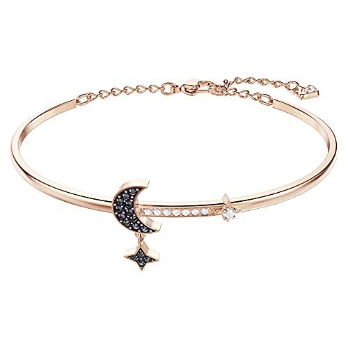 Swarovski Symbolic Moon Armreif, Rosé Vergoldeter Damenarmreif mit Funkelnden Swarovski Kristallen und Schimmerndem Mond- und Sternmotiv