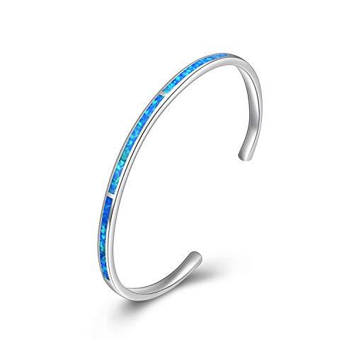 WINNICACA Blau Feuer Opal Armreif Sterling Silber Verstellbare Manschette Armbänder Geschenke für Frauen Mädchen Muttertag