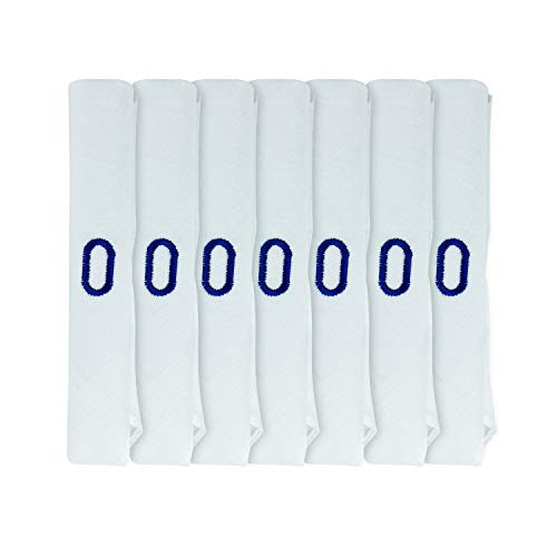 DUDU N GIRLIE Pack de 7 pañuelos de satén blanco para hombre y caballero con iniciales incrustadas azules, talla única, O