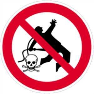 Schild Kleiderreinigung mit Preßluft verboten 20cmØ PVC