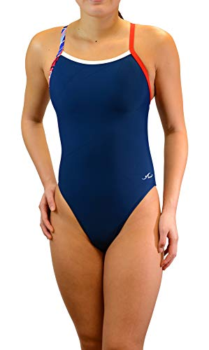 Adoretex Girl's/Women's Pro One Piece Solid Flyback Swimsuit (FN034)-Navy Combo-36