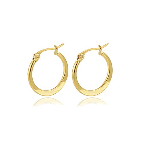 Yumay 9ct Gold Oval Hoop Earrings for Women and Gilrls.