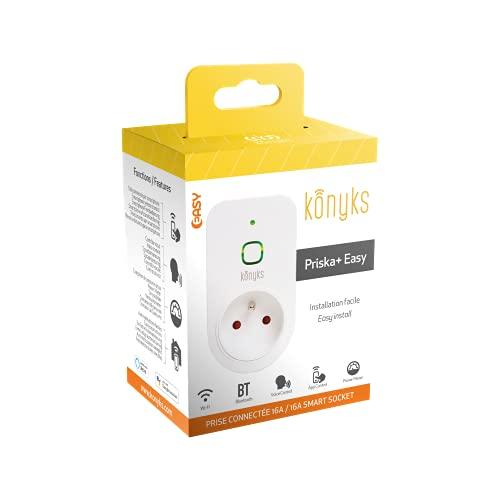 Konyks Priska+ Easy, enchufe conectado por WiFi + Bluetooth con medidor de consumo, compatible con Alexa y Google Home, automatizaciones sencillas, 16A, 3520W, no necesita hub
