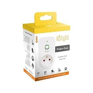 Konyks Priska Easy, enchufe conectado por WiFi Bluetooth con medidor de consumo, compatible con Alexa y Google Home, automatizaciones sencillas, 16A, 3520W, no necesita hub, Blanco