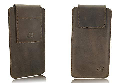 OrLine Echt Leder Gürtel Handytasche passend für BlackBerry Q5 Handy Tasche Braun