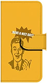 Xperia ZL2(SOL25) HAVE A NICE DAY!(オレンジ) 【鏡付き】 手帳型スマホケース ql552-i0610_am ミラー付き