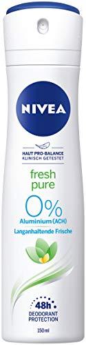 NIVEA Fresh Pure Deo Spray (150 ml), erfrischendes Deo ohne Aluminium (ACH), Deodorant mit 48h Schutz pflegt die Haut