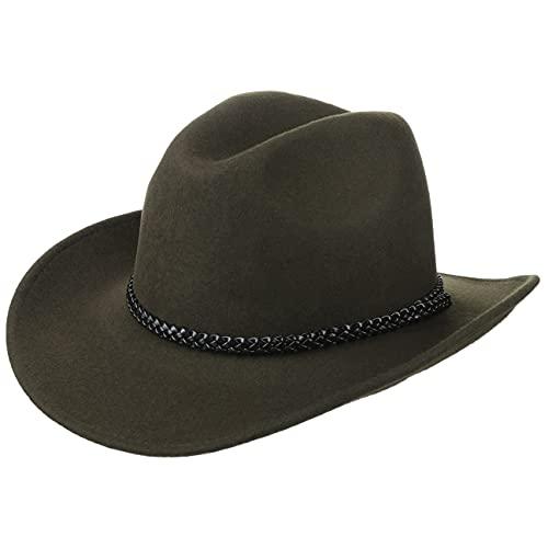 Lipodo Sombrero de Cowboy Negro/Verde Oliva Hombres y Mujeres - Sombrero del Oeste de 100% Fieltro de Lana - Sombrero de Rodeo con Banda de Piel -tamaños S-XL/54-61 cm Verde Oliva M (56-57 cm)