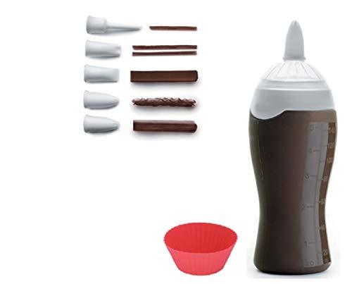 Dekorierflasche aus Silikon mit 6 Spritztüllen