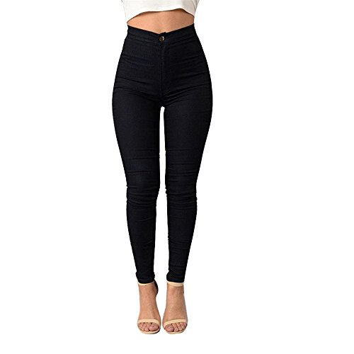 TWIFER Damen Mädchen Denim Jeans Multi Farben Lässige Jeans Hosen (S, Schwarz)