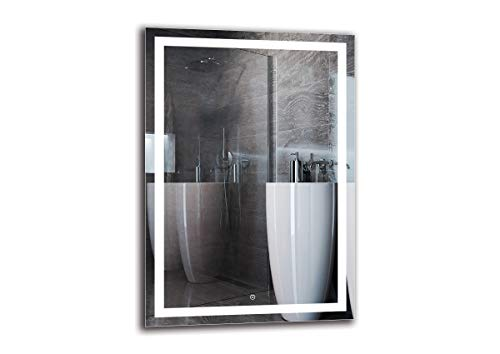 Espejo LED Deluxe - Dimensiones del Espejo 70x100 cm - Interruptor tactil - Espejo de baño con iluminación LED - Espejo de Pared - Espejo con iluminación - ARTTOR M1ZD-47-70x100 - Blanco frío 6500K