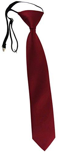 TigerTie Security Sicherheits Krawatte in bordeaux Uni einfarbig - vorgebunden mit Gummizug in schwarz
