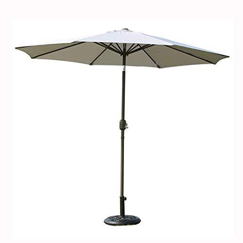 FWZJ Paraguas de jardín de Metal al Aire Libre de 2,7 m para jardín con manivela y Mecanismo de inclinación UPF50 + (Color: Gris)