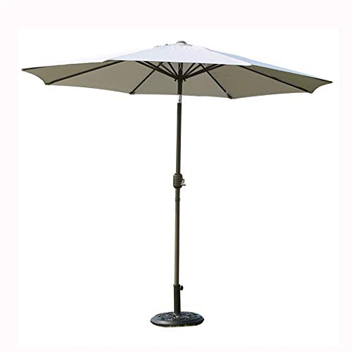 unknow 2.7M Outdoor Metal Garden Turn To Yard Umbrella with Winding Crank and Tilt Mechanism UPF50 + Patio Sunshade UV (Color: Gray)