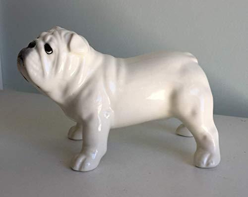 English bulldog white porcelain (faience) figurine, handmade, porcelain dog figurine