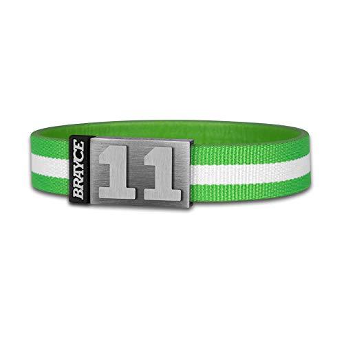 BRAYCE® Trikot am Handgelenk® mit Deiner Trikot Nummer 00-99 I Armband grün & weiß I Sportarmband/Teamarmband personalisierbar & handgemacht