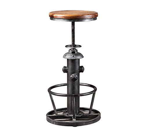 Topower American Antique Industrial Round Bottom Adjustable Height Cafe Coffee Retro Vintage Stylish Water Pipe Design Pub Kitchen Bar Stool (Silver, Wooden Top)