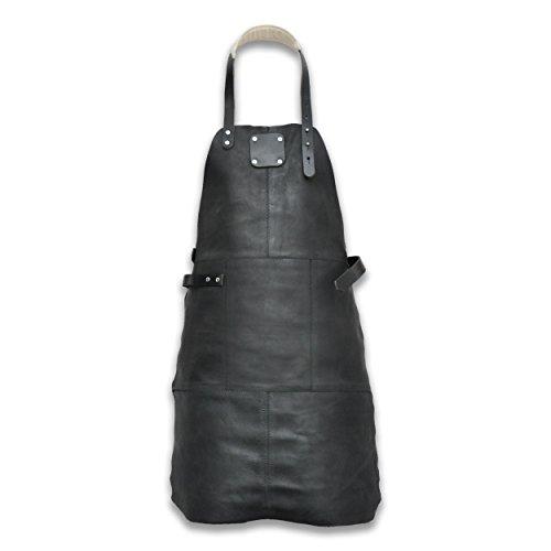 Livorio Grillschürze Lederschürze, hochwertigem Leder, verstellbar, Länge 85cm, schwarz