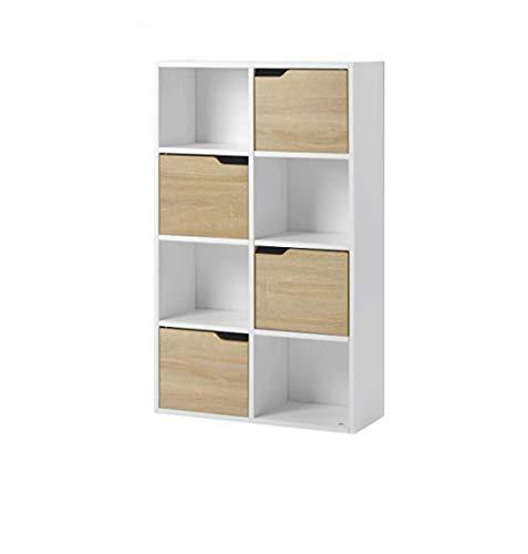 Rack Cube Storage, Gabinete de almacenamiento de libros y DVD para sala de estar y oficina, Unidad Estantería de 4 niveles Estante de madera Unidad de TV Organizador, Almacenamiento de exhibición -
