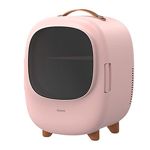 MikeyBee Pequeño Mini refrigerador 8L cosméticos para el hogar refrigerador de Doble Uso Que calienta y enfría el refrigerador(Rosa,AU)