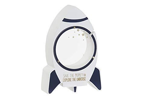 Item Hucha Transparente Cohete con diseño Original en Madera, Ideal para Decorar el Dormitorio de un niño, colección Explora el Universo