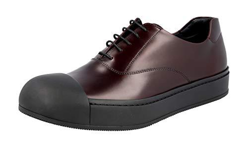 Prada Herren Braun gebürstetes Spazzolato-Leder Leder Business Schuhe 2EG221 B4L F0403 40.5 EU / 6.5 UK