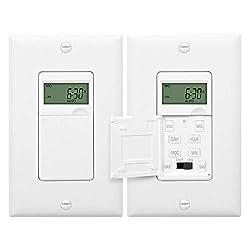 small Programmable digital timer ENERLITES for lights, fans, motors, 18 on / off timers for 7 days …