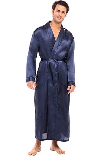 Alexander Del Rossa Mens Satin Robe, Long Lightweight Loungewear, 3XL Midnight Blue (A0720MBL3X)