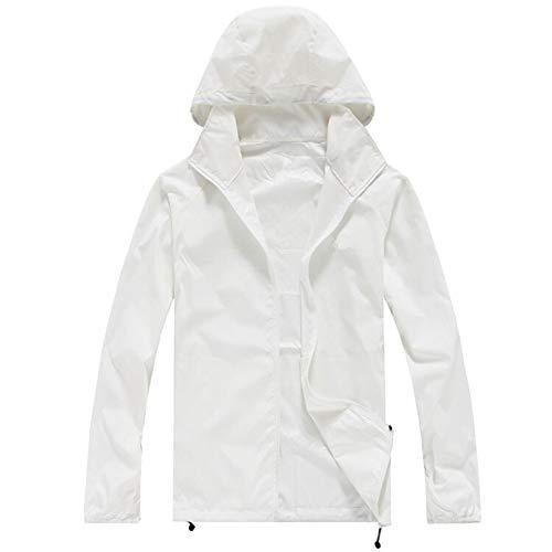Yanshan Outdoor-Männer und Frauen Hautmantel der Haut Kleidung im Freien Kleidung dünn und leicht schnell trocknend Sonnenschutz Kleidung Arbeitskleidung Fischerei (Color : White, Size : 3XL)