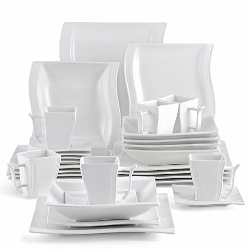MALACASA Square White Dinnerware Set, 30-Piece Porcelain Dishes Dinner Sets, Plates and Bowls Sets, Cups and Saucers, Dinner Plates Set for Dessert, Salad and Pasta, Service for 6, Series Flora