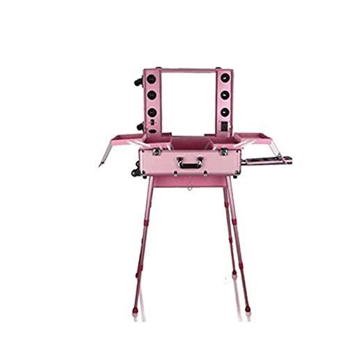 Maleta de tren de maquillaje 6 leds Colores de luz y ruedas de dirección omni Ruedas iluminadas Rolling Travel Organizador cosmético, Artista profesional Trolley Studio Standing ( Color : Pink )