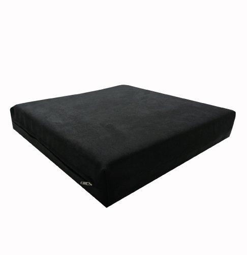 Dibapur - Cojín viscoelástico para silla de ruedas (40 x 40 cm, de espuma viscoelástica RG55 de espesor 3,5 cm y espuma fría RG35 de 3,5 cm, incluye funda de microfibra), color negro
