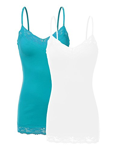 RT1004 Pack Ladies Adjustable Spaghetti Strap Lace Tunic Camisole 2Pack-WHT/Teal S