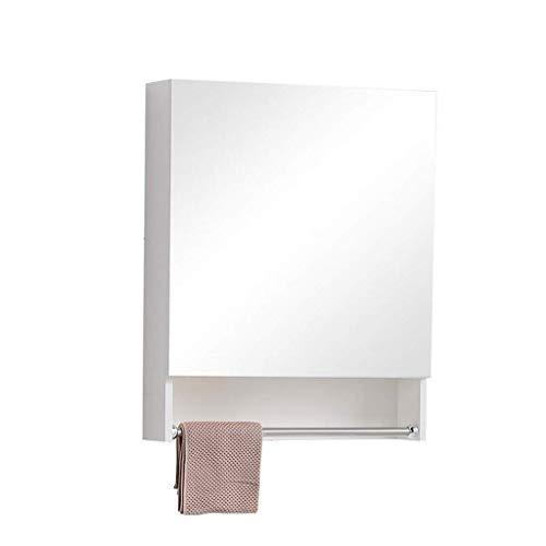 MJK Espejo de pared, gabinetes con espejos Caja de almacenamiento de baño de madera maciza con una estantería separada para montaje en pared Espejo de tocador de baño Apartamento pequeño,blanco,57 *