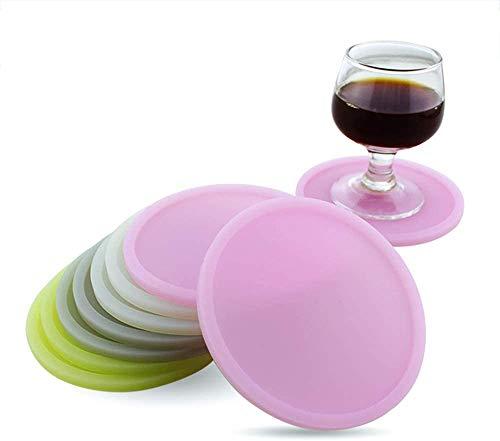 LIARTY Silikon Glasuntersetzer 8er Set Tischplattenschutz Durable Anti-Rutsch Untersetzer Runde Getränke Untersetzer, Glass, Kaffeetassen,Teetassen und Flaschen Für Alle Tische,Trinkgläser