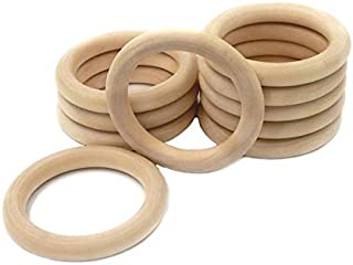 10PCS 40mm 55mm 70mm Baby Natural Teething Rings Wooden Necklace Bracelet DIY Crafts Unfinished Wood Rings Crafts Baby Tee...