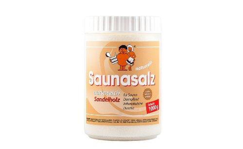 Saunabedarf Schneider - Saunasalz watteweich, Salinensalz Sandelholz, für Sauna, Dampfbad, Infrarotkabine, Dusche 1000g