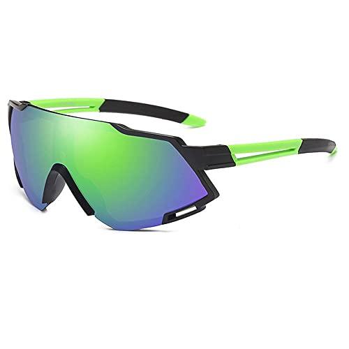 BBDA Gafas de sol de ciclismo para hombres al aire libre polarizadas gafas de ciclismo Mtb mujeres fotocromáticas gafas de sol, marco negro película verde