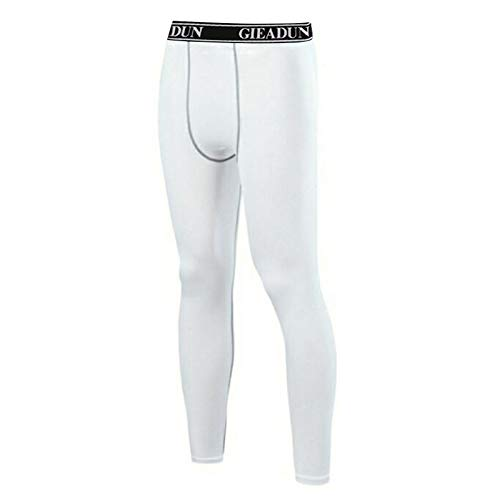 GIEADUN 2 Piezas Leggings Hombre, Pantalón de Compresión Secado Rápido Pantalones Deporte Mallas Largas para Running Fitness Yoga (Blanco*1, L)