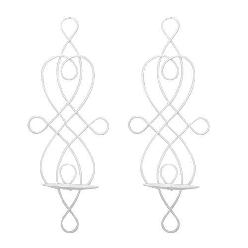 2 x Candelabro de Pared Blanco 1 Brazo Individual para Una Vela Antiguo Nordico Vintage Decoración Metal Decorativo